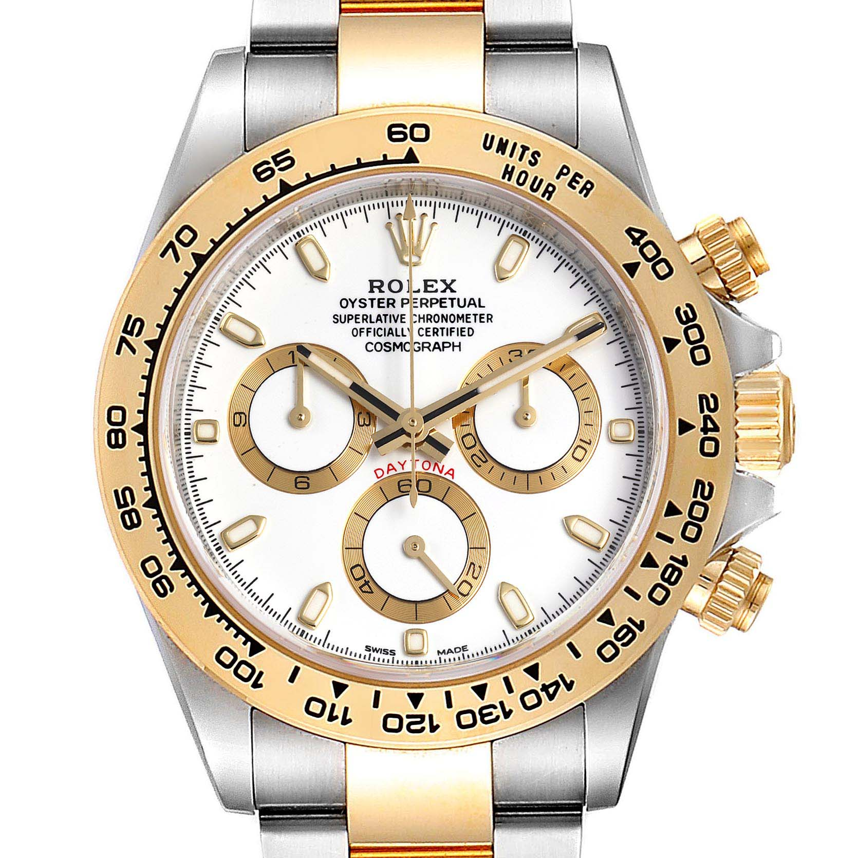 Rolex Cosmograph Daytona White Dial Steel Yellow Gold Mens Watch 116503
