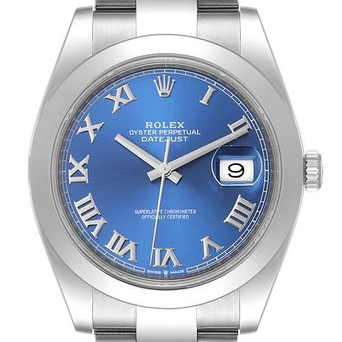 Photo of Rolex Datejust 41 Blue Roman Dial Steel Mens Watch 126300 Box Card