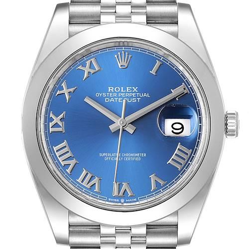 Photo of Rolex Datejust 41 Blue Roman Dial Steel Mens Watch 126300 Unworn