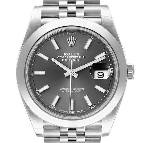 Photo of Rolex Datejust 41 Grey Dial Domed Bezel Steel Mens Watch 126300 Unworn