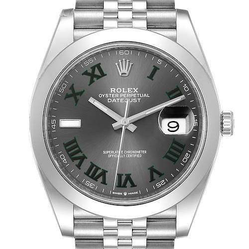 Photo of Rolex Datejust 41 Wimbledon Dial Green Numerals Steel Mens Watch 126300 Unworn