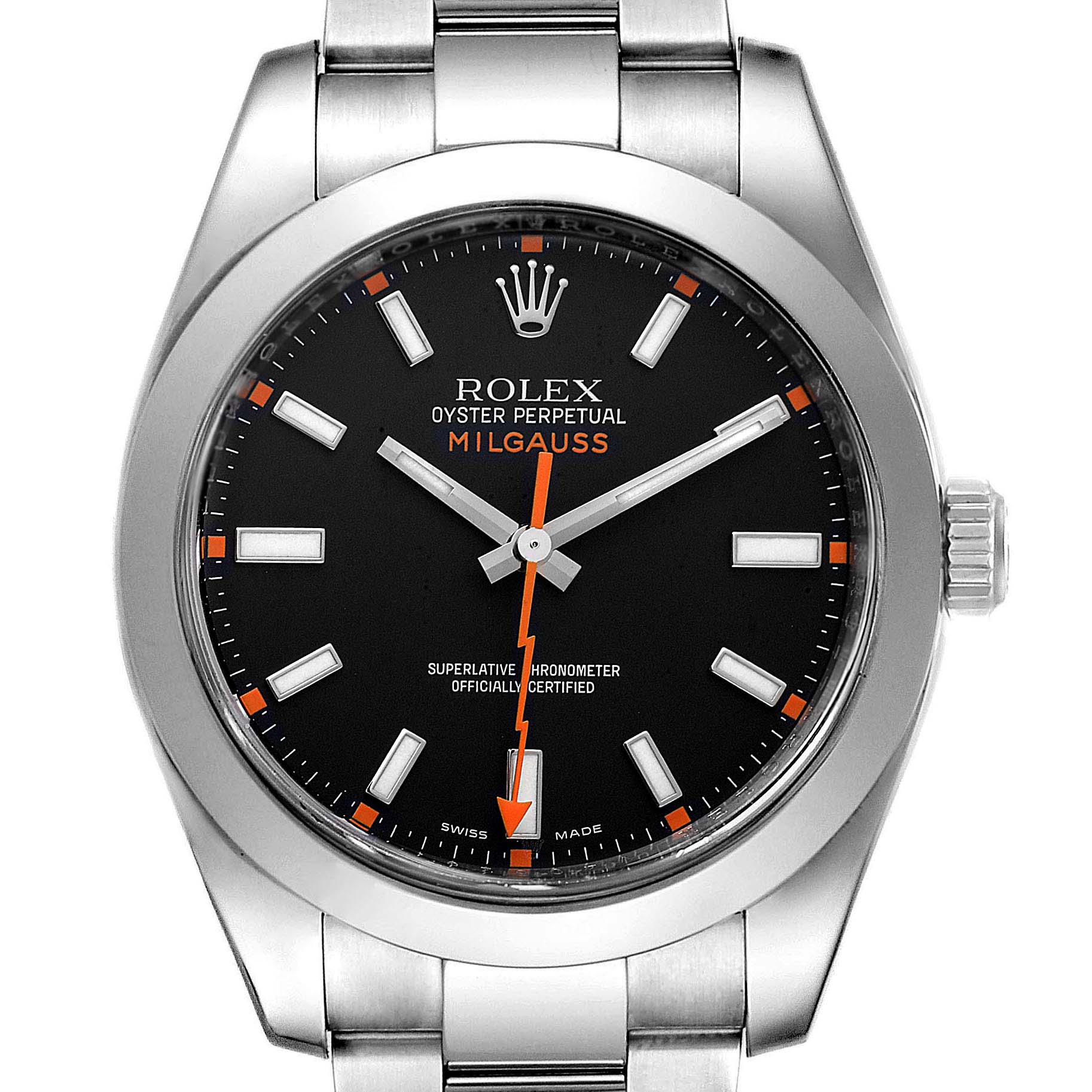 Rolex Milgauss Black Dial Domed Bezel Steel Mens Watch 116400