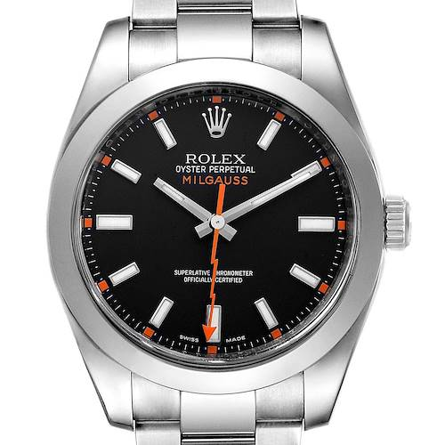 Photo of Rolex Milgauss Black Dial Domed Bezel Steel Mens Watch 116400
