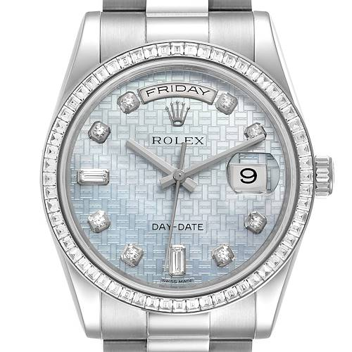 Photo of Rolex President Day-Date White Gold Diamond Dial Bezel Watch 118399 Box Card