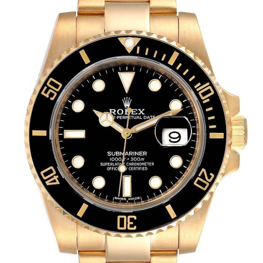Rolex Submariner Black Dial Yellow Gold Mens Watch 116618 Box Card SwissWatchExpo