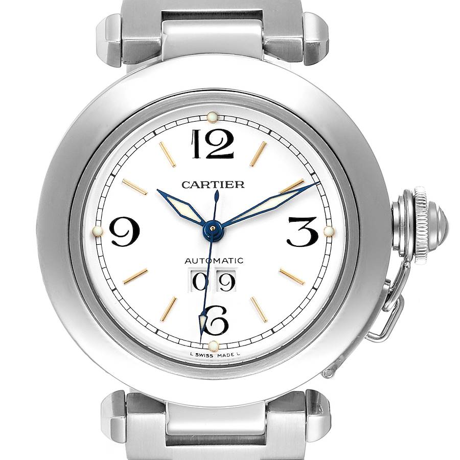 Cartier Pasha C Midsize White Dial Steel Unisex Watch W31044M7 SwissWatchExpo