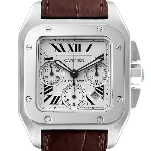 Photo of Cartier Santos 100 XL Silver Dial Brown Strap Chronograph Watch W20090X8