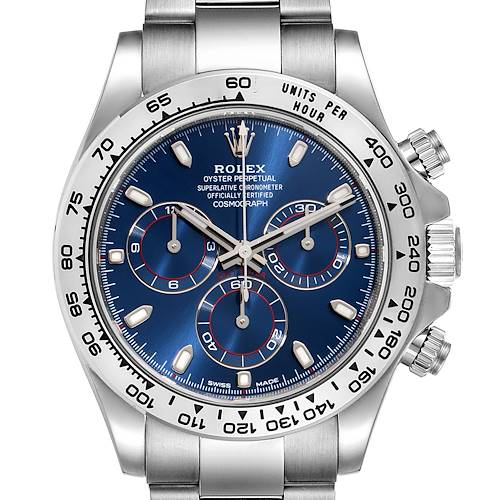 Photo of Rolex Cosmograph Daytona White Gold Blue Dial Mens Watch 116509 Box Card