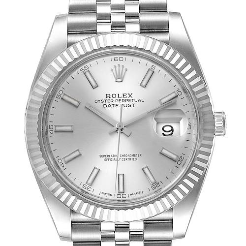 Photo of Rolex Datejust 41 Steel White Gold Silver Dial Watch 126334 Box Card