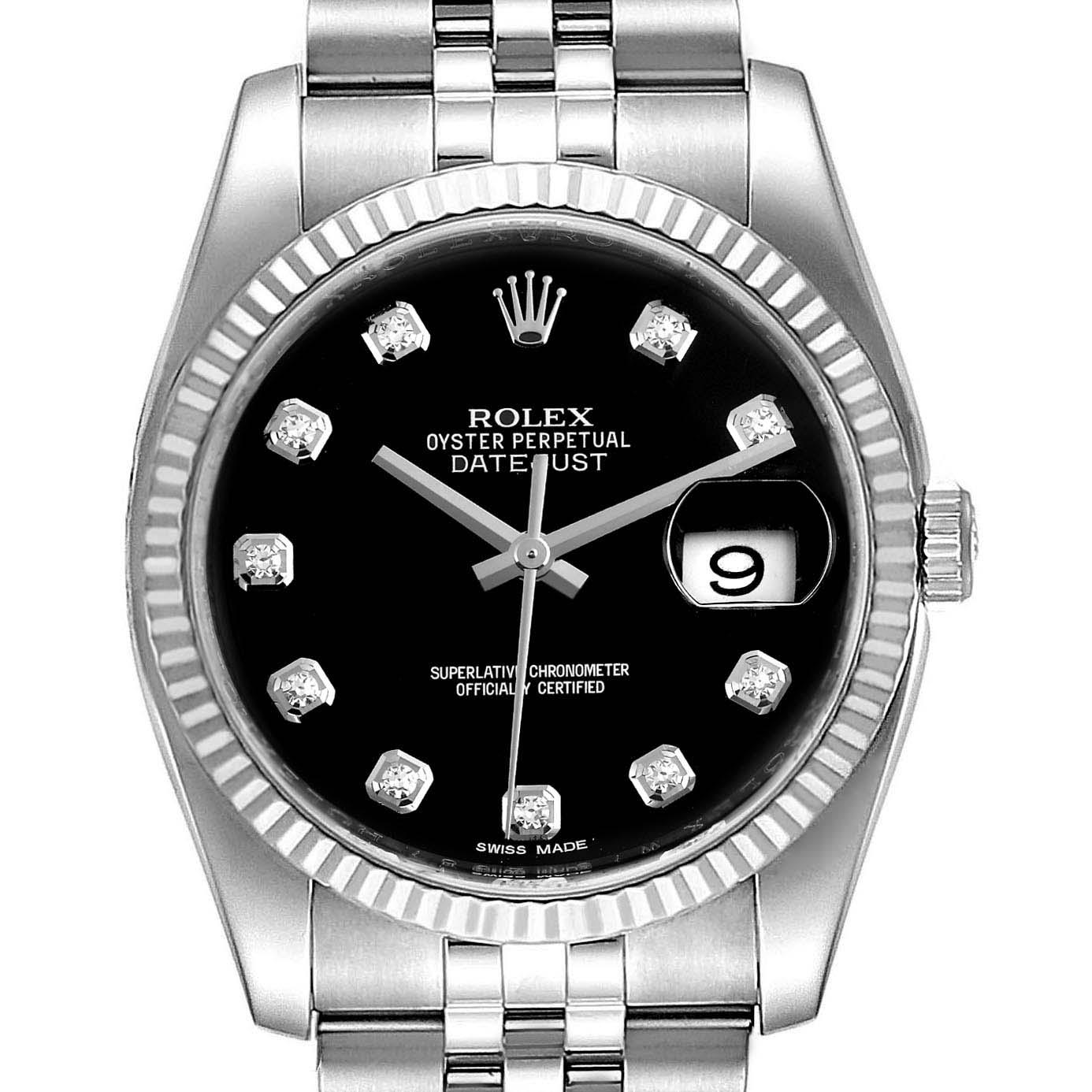 Rolex Datejust Steel White Gold Diamond Dial Mens Watch 116234 Box Card