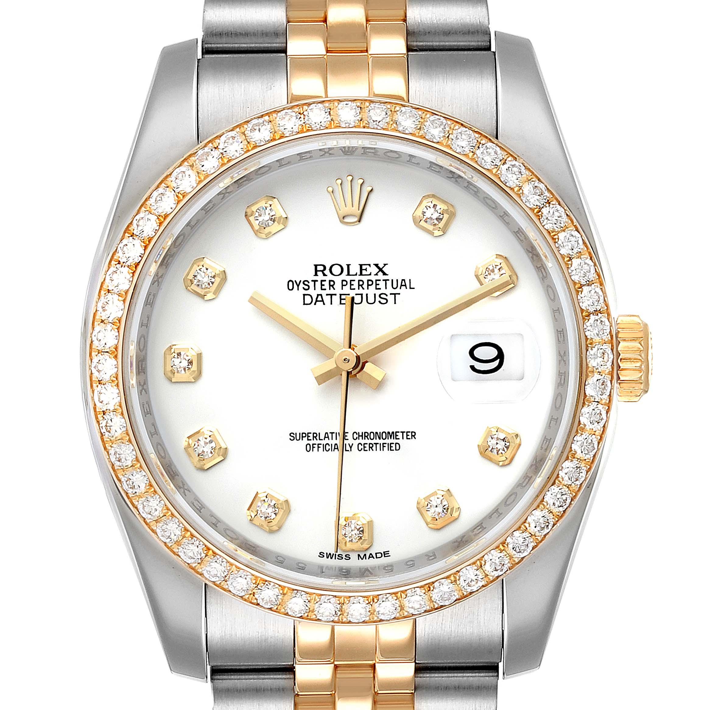 Rolex Datejust Steel Yellow Gold White Diamond Dial Mens Watch 116243
