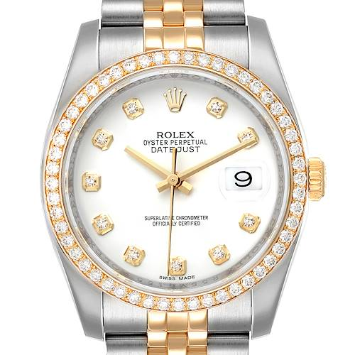 Photo of Rolex Datejust Steel Yellow Gold White Diamond Dial Mens Watch 116243