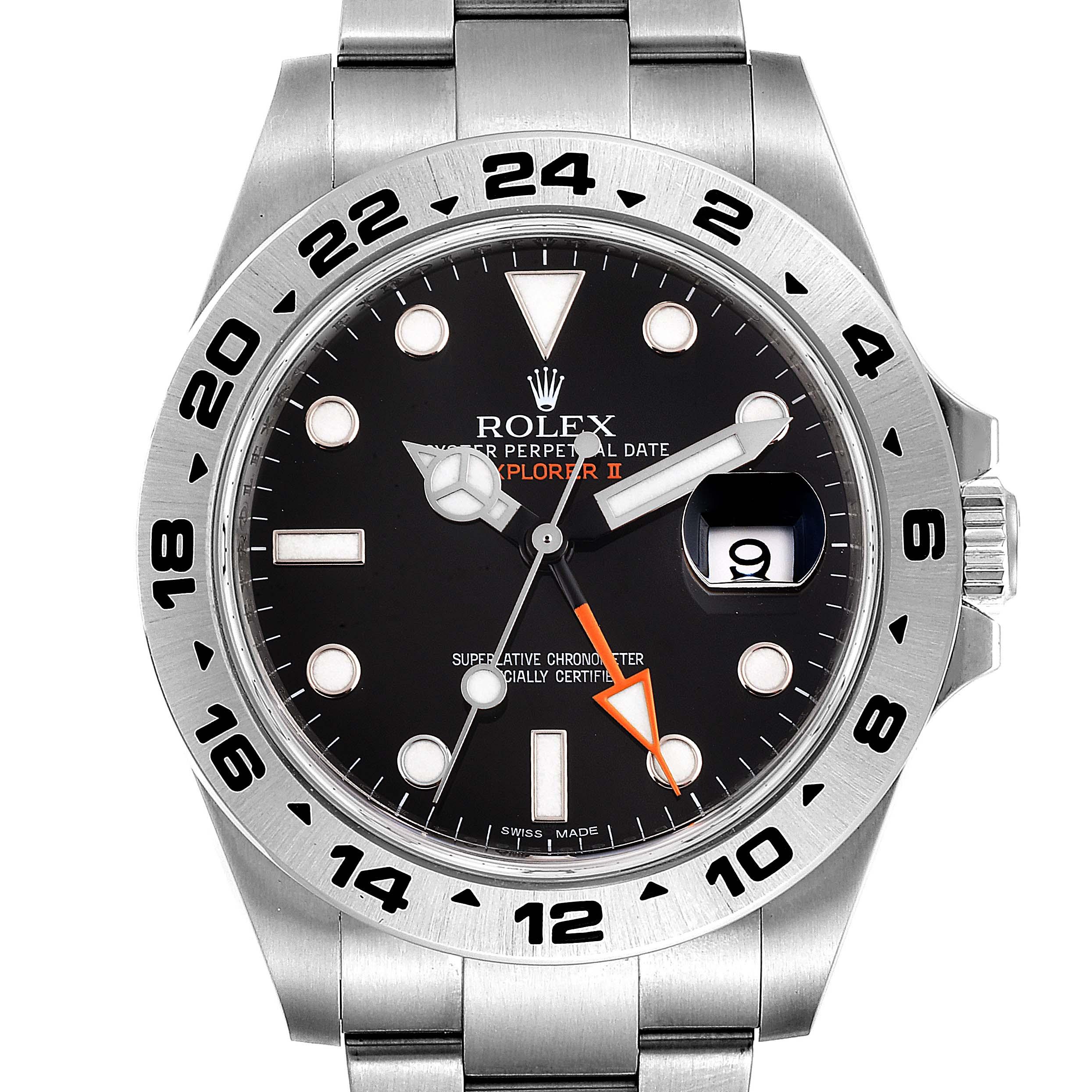 Rolex Explorer II 42mm Black Dial Steel Mens Watch 216570 Box Card