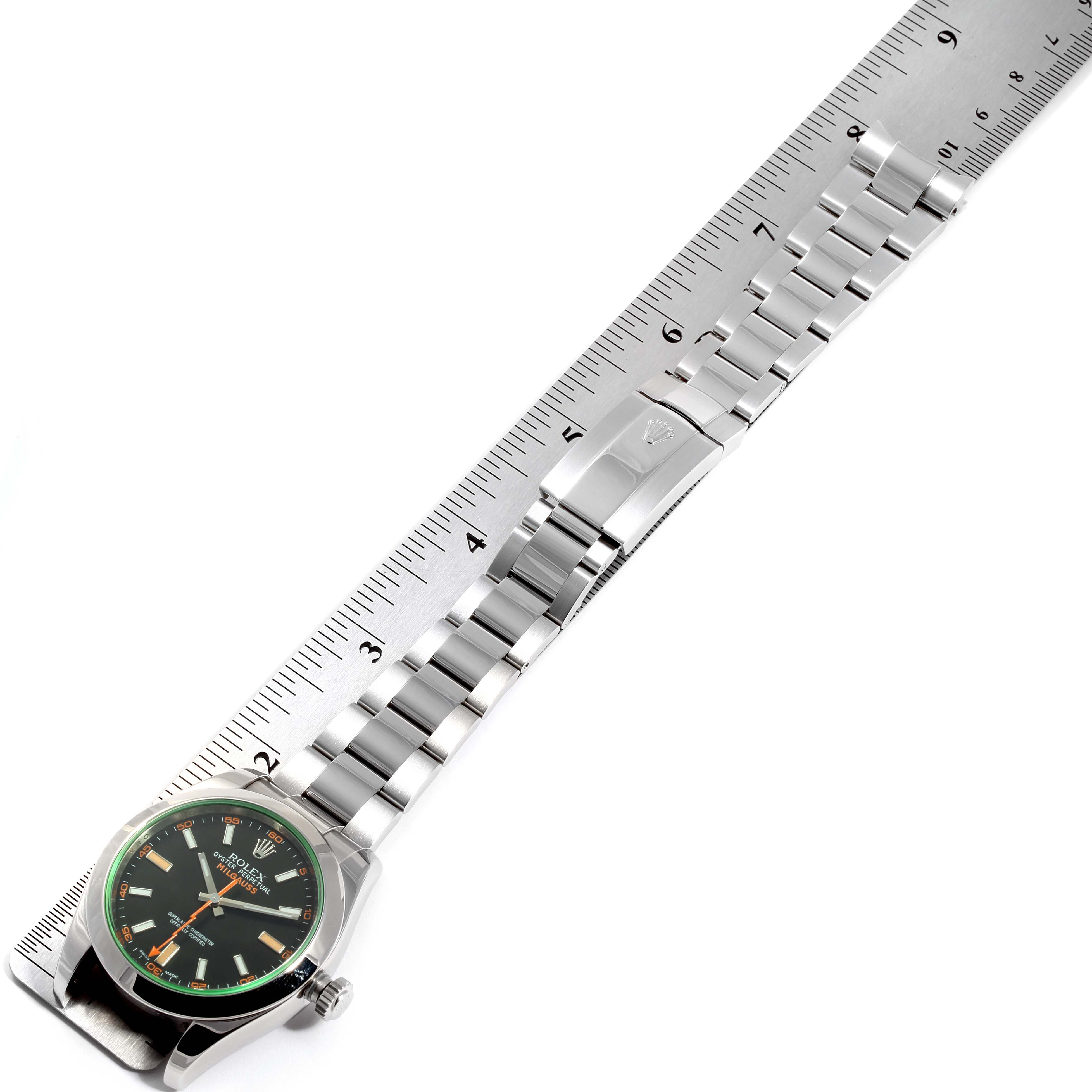 Rolex Milgauss Black Dial Green Crystal Mens Watch 116400GV Box Card SwissWatchExpo