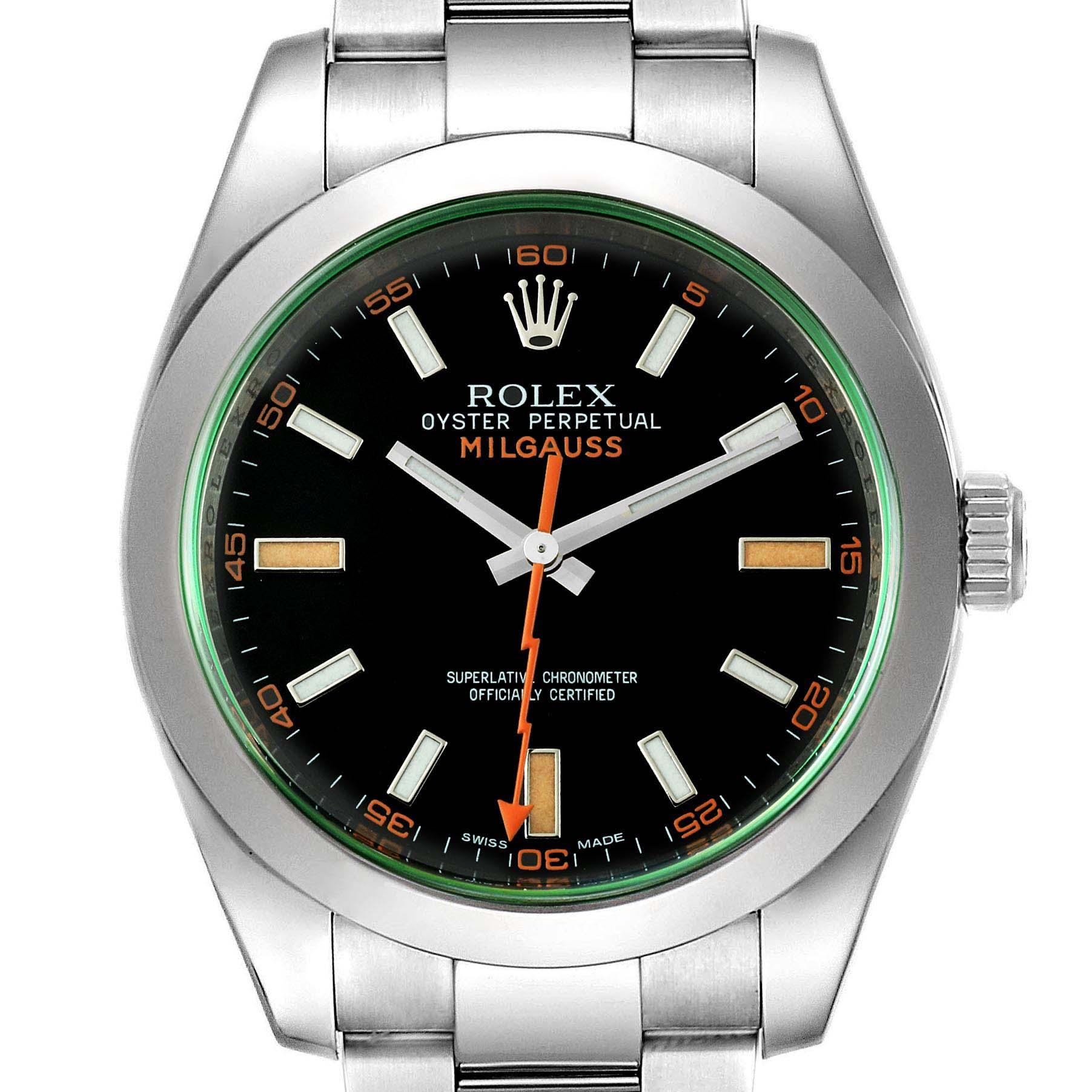 Rolex Milgauss Black Dial Green Crystal Mens Watch 116400GV Box Card