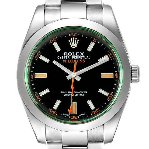 Photo of Rolex Milgauss Black Dial Green Crystal Mens Watch 116400GV Box Card