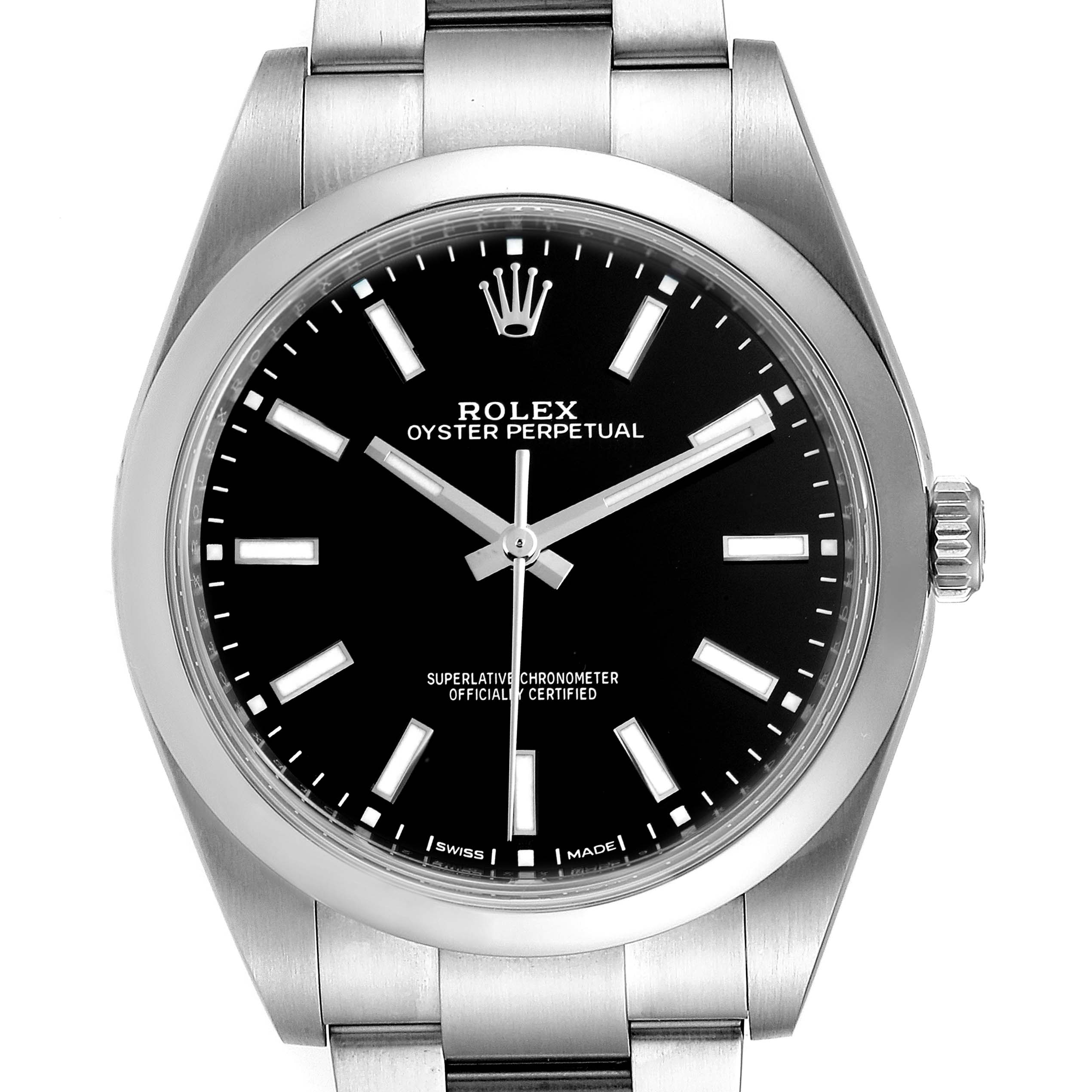 Rolex Oyster Perpetual 39 Black Dial Steel Mens Watch 114300 Box Card