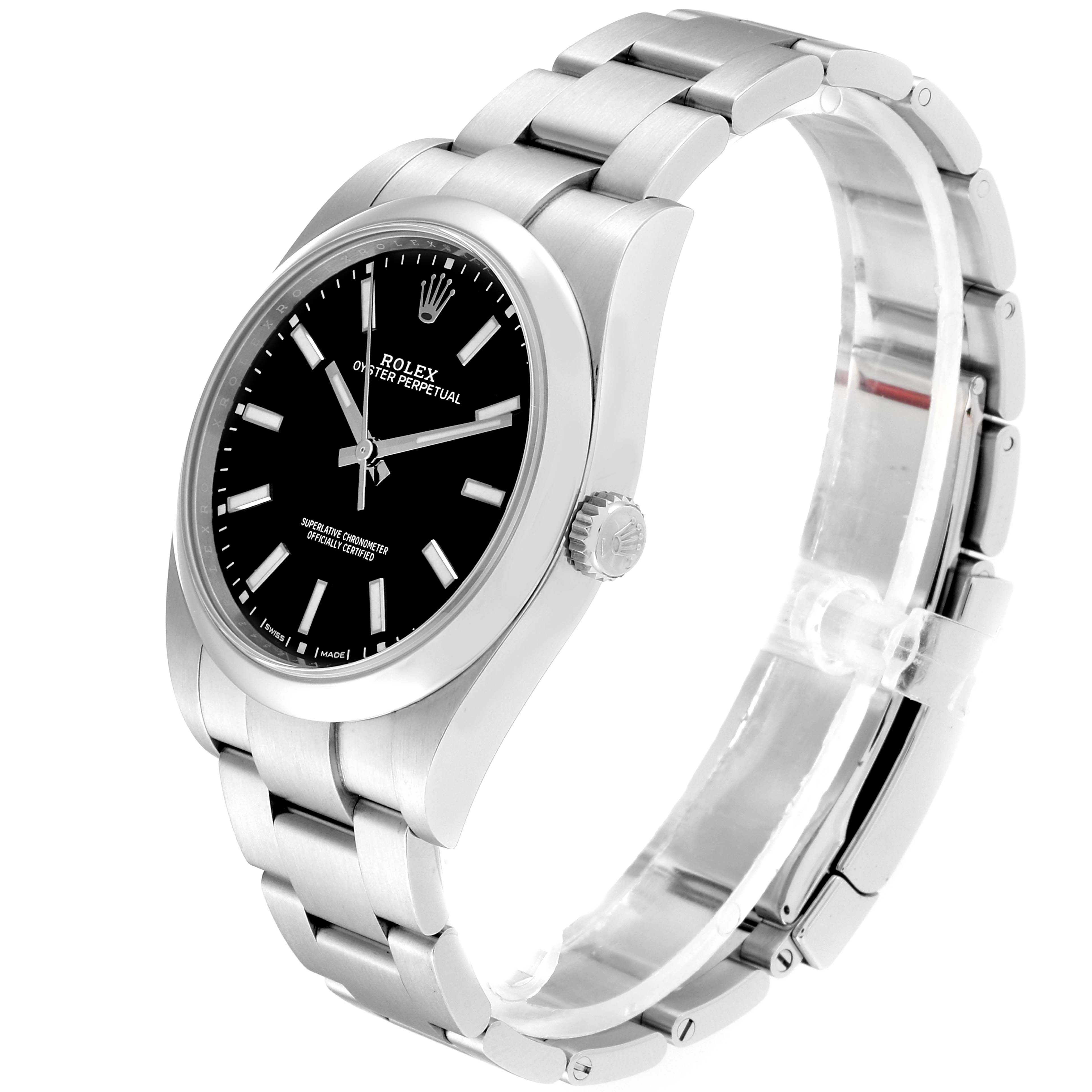 Rolex Oyster Perpetual 39 Black Dial Steel Mens Watch 114300 Box Card SwissWatchExpo