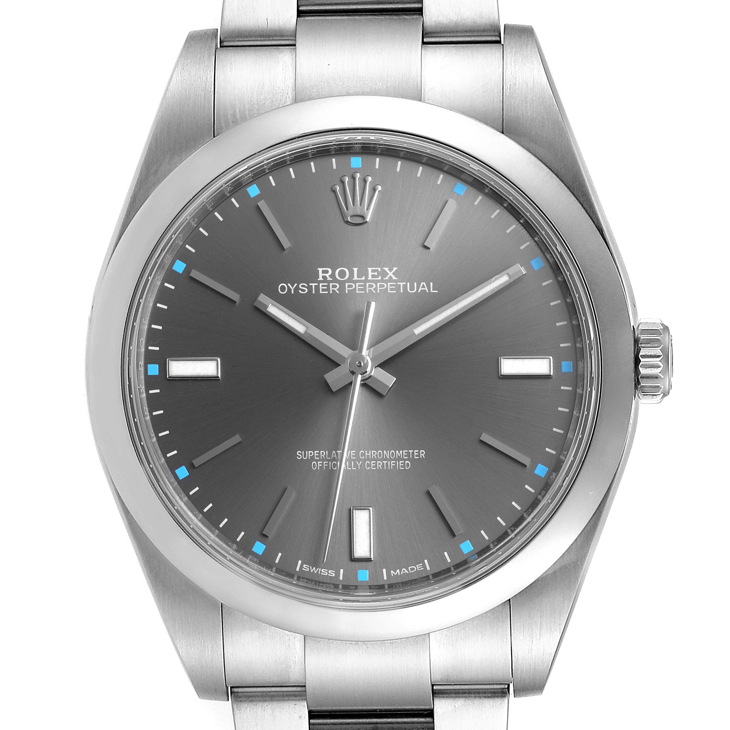 Rolex Oyster Perpetual 39 Slate Dial Steel Mens Watch 114300 Box Card