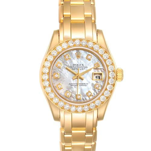 Photo of Rolex Pearlmaster Yellow Gold MOP Diamond Ladies Watch 80298 Box Card