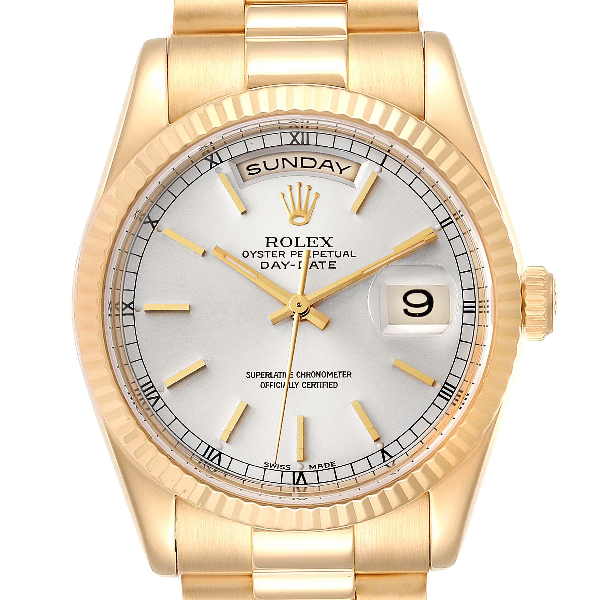 Rolex President Day-Date Silver Dial Yellow Gold Mens Watch 118238
