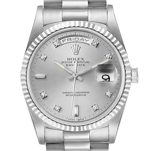 Photo of Rolex President Day-Date White Gold Diamond Dial Mens Watch 18239