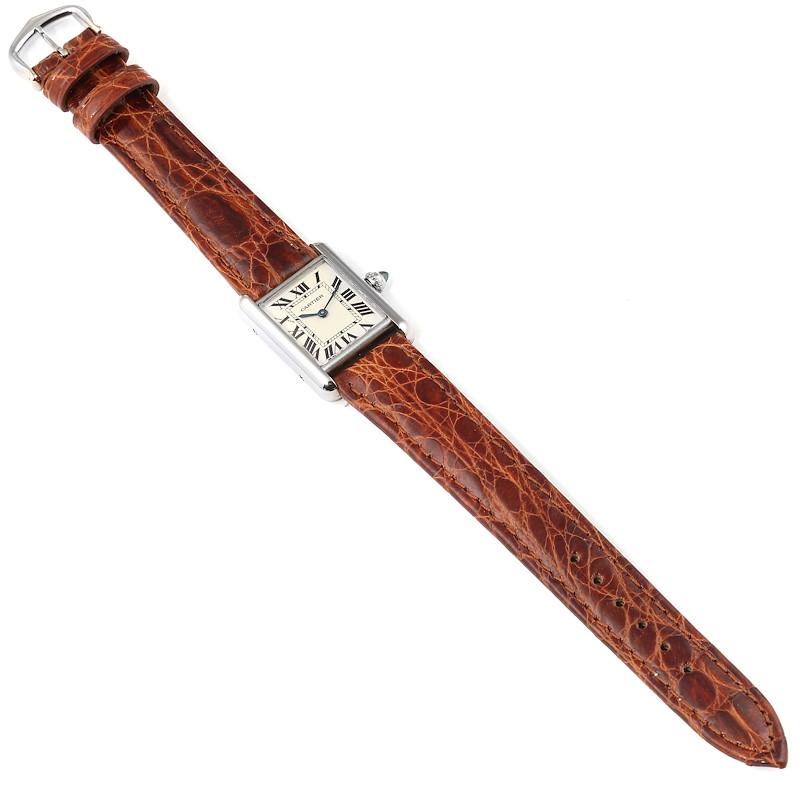 Cartier Tank Louis 18k White Gold Brown Strap Ladies Watch W1541056 SwissWatchExpo
