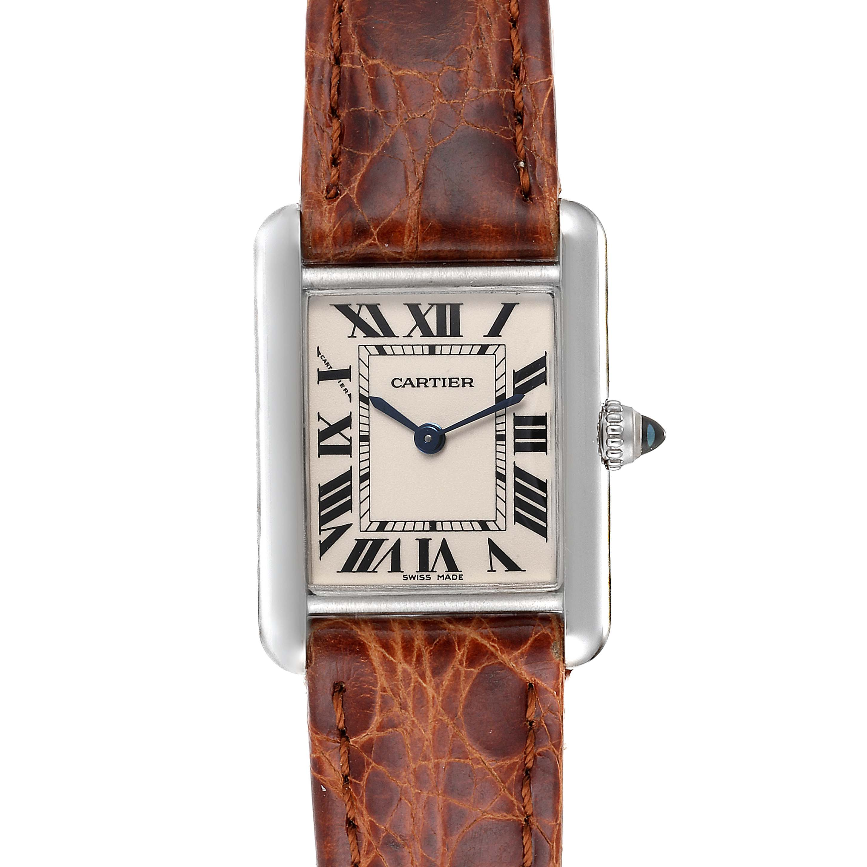 Cartier Tank Louis 18k White Gold Brown Strap Ladies Watch W1541056