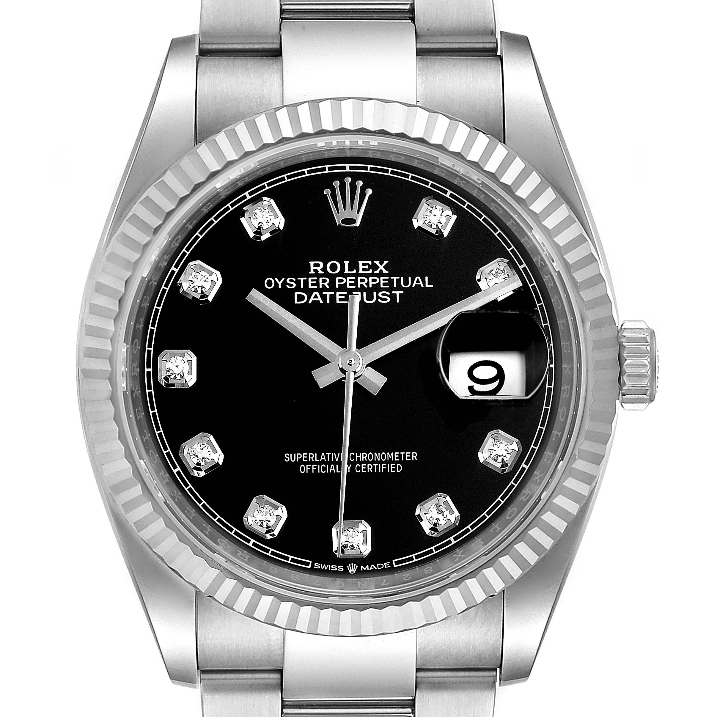 Rolex Datejust Steel White Gold Black Diamond Dial Mens Watch 126234