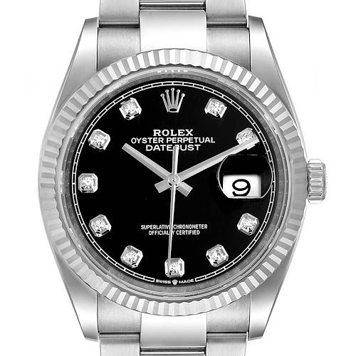 Photo of Rolex Datejust Steel White Gold Black Diamond Dial Mens Watch 126234