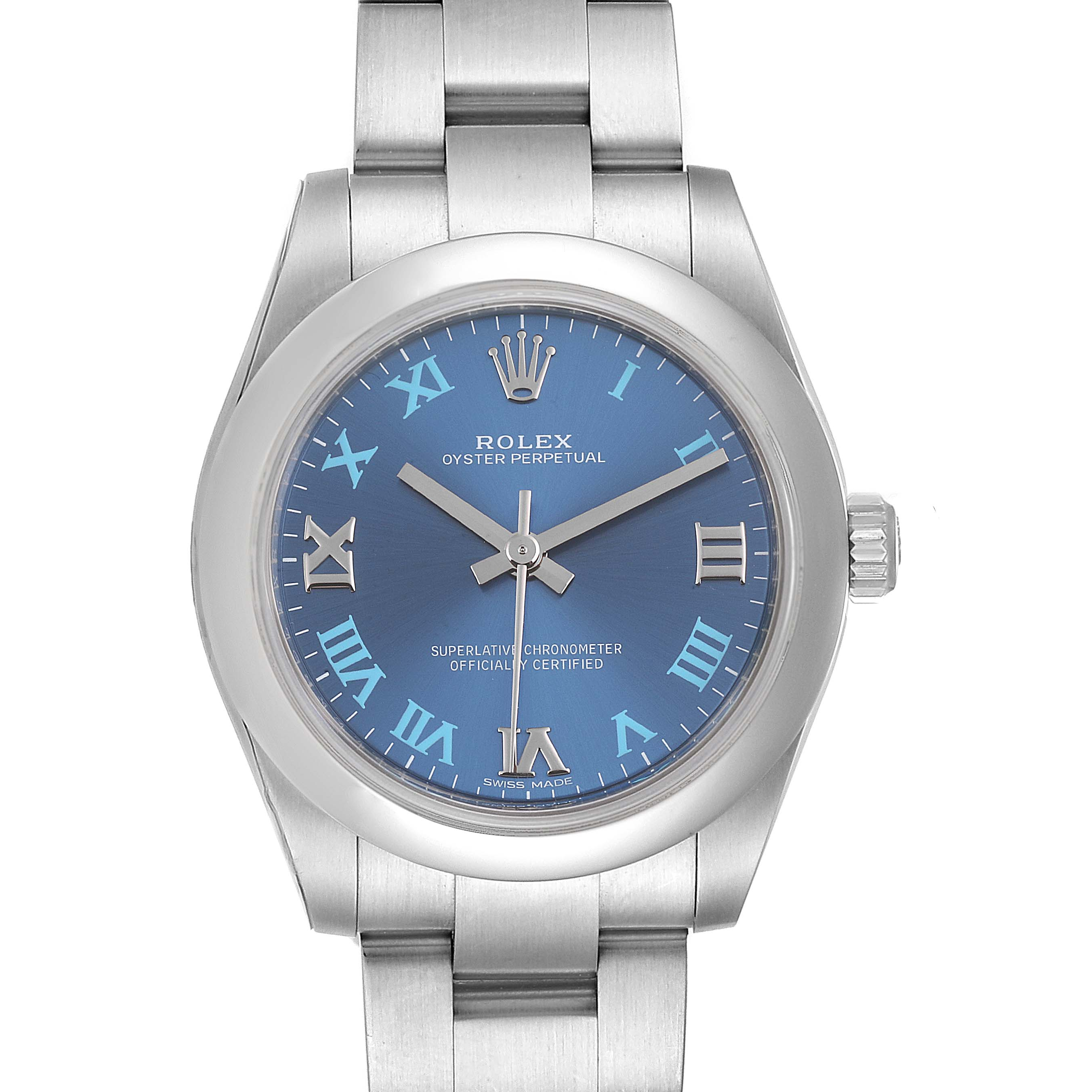 Rolex Oyster Perpetual Midsize 31 Blue Dial Ladies Watch 177200 Unworn