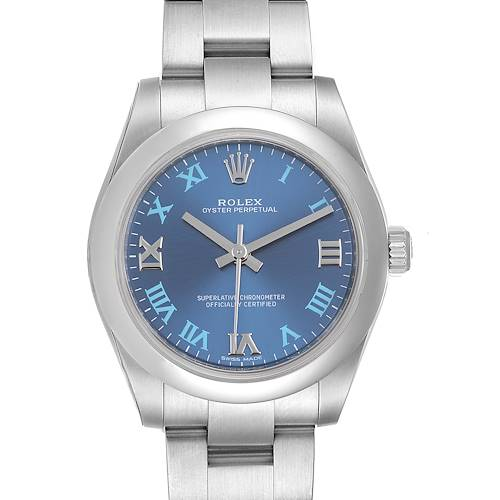 Photo of Rolex Oyster Perpetual Midsize 31 Blue Dial Ladies Watch 177200 Unworn