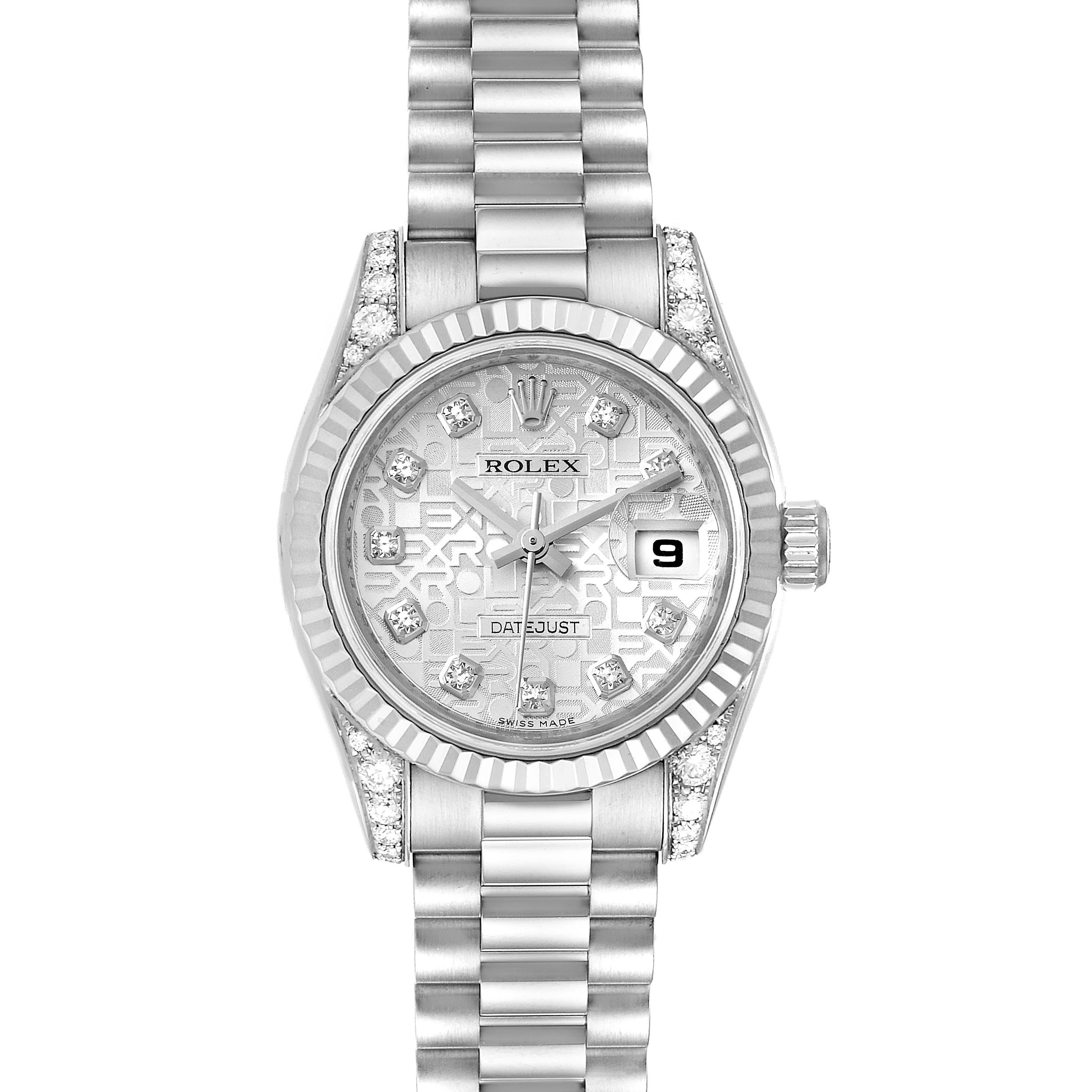 Rolex President Crown Collection White Gold Diamond Ladies Watch 179239