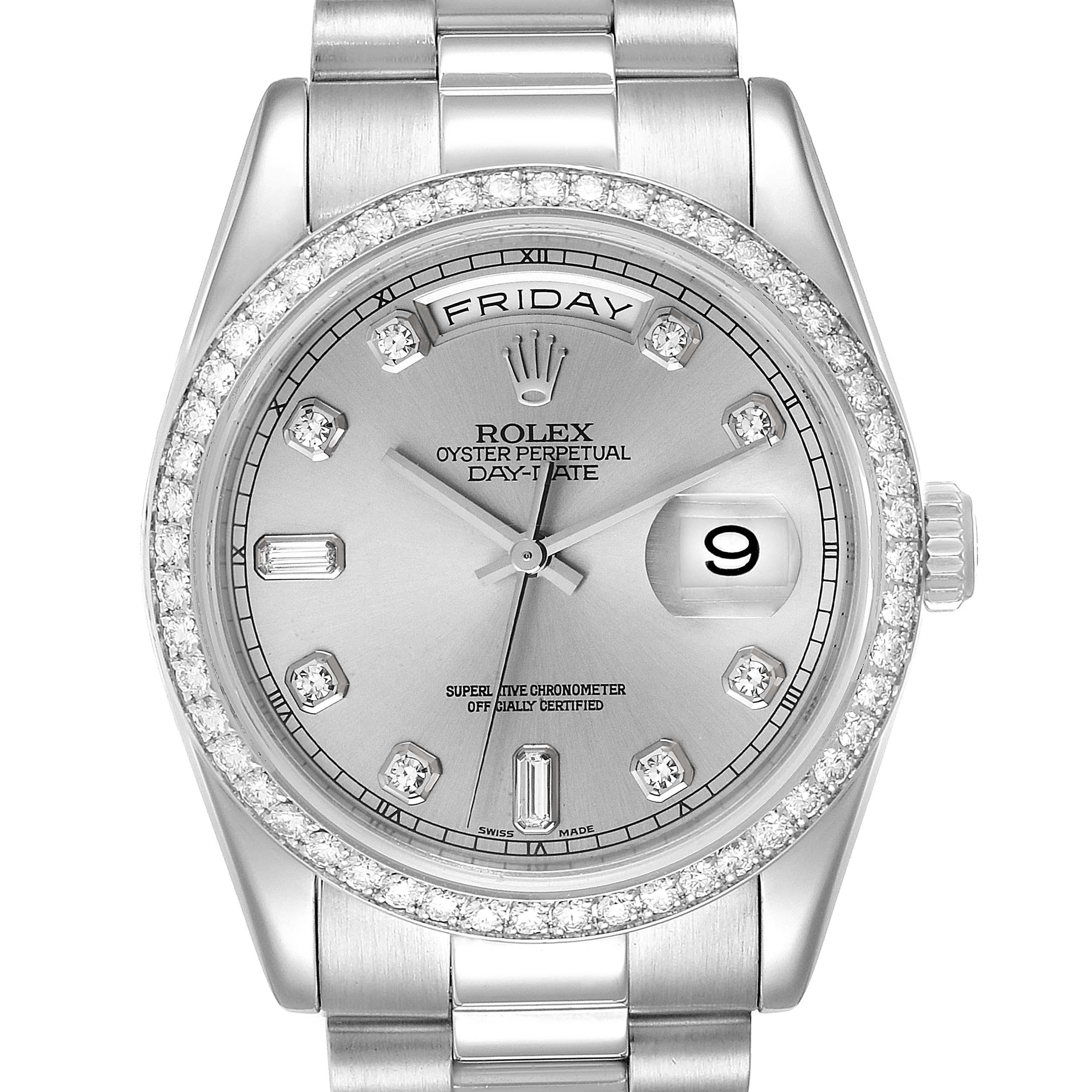 Rolex President Day-Date Platinum Diamond Mens Watch 118346