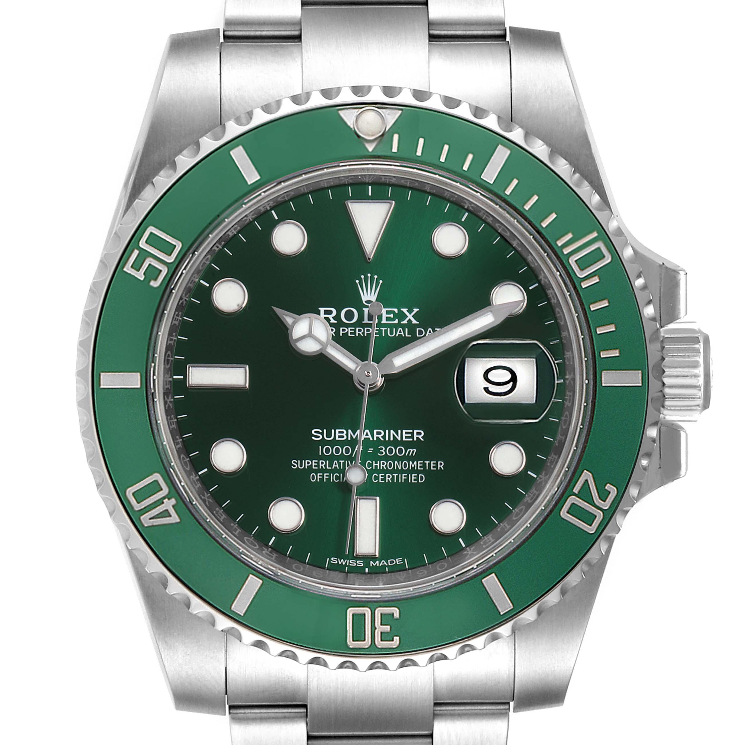 Rolex Submariner Hulk Green Dial Bezel Mens Watch 116610LV Unworn