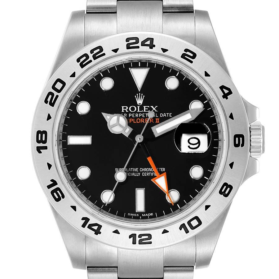 Rolex Explorer II 42 Black Dial Orange Hand Steel Watch 216570 SwissWatchExpo