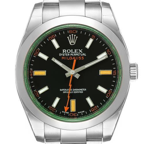 Photo of Rolex Milgauss Black Dial Green Crystal Steel Mens Watch 116400GV Unworn