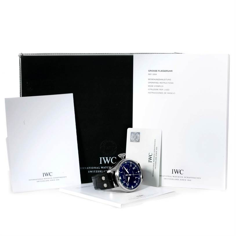 9989 IWC Big Pilot Automatic Stainless Steel Black Dial Mens Watch IW500901 SwissWatchExpo