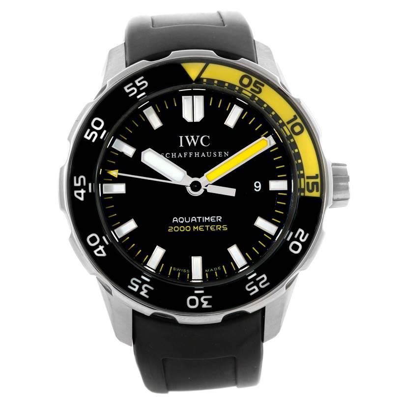 10367 IWC Aquatimer 2000 Black Dial Rubber Strap Mens Watch IW356802 SwissWatchExpo