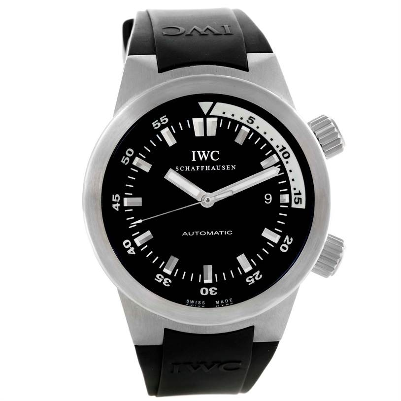 9854 IWC Aquatimer Black Dial Rubber Strap Mens Watch IW354807 SwissWatchExpo