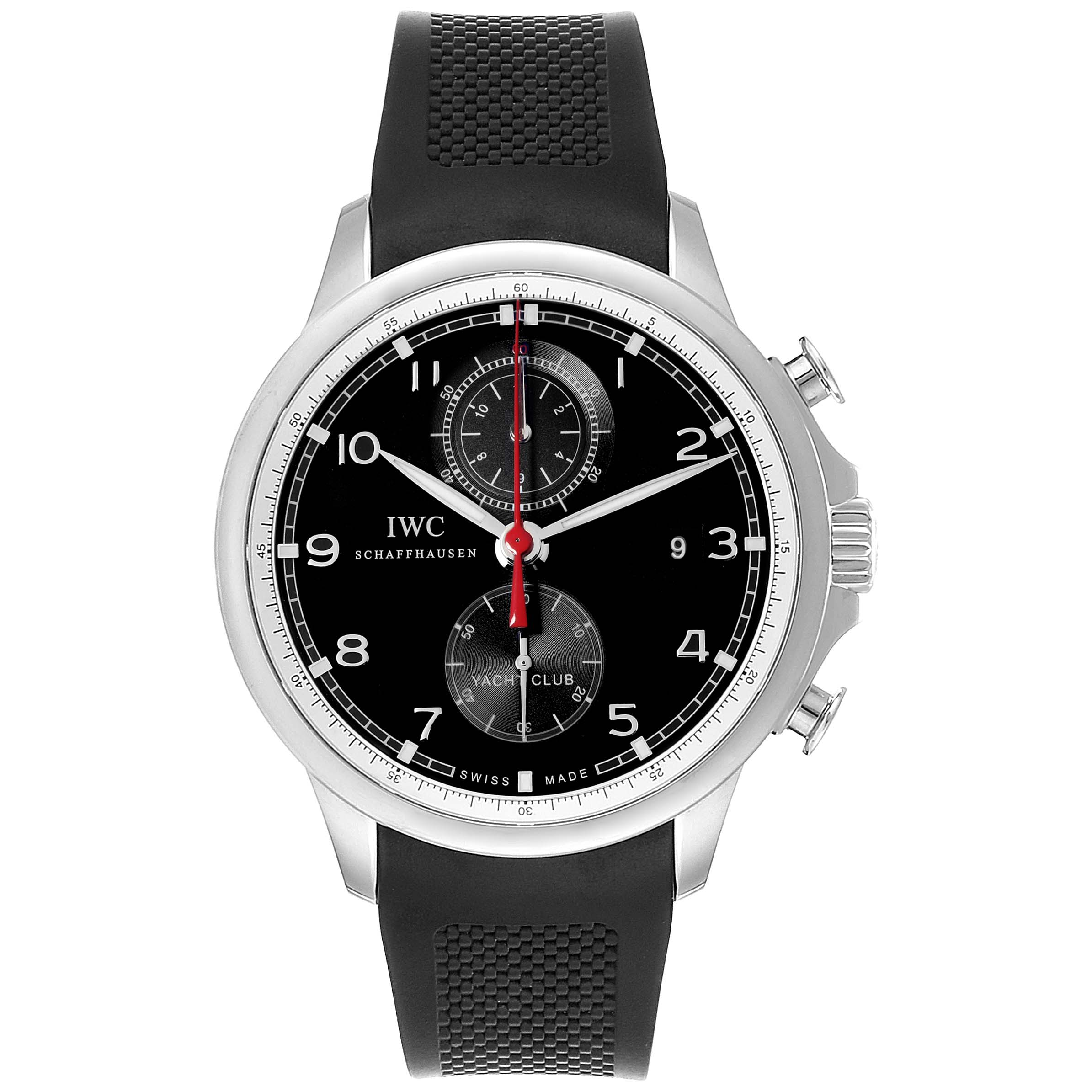 IWC Portuguese Yacht Club Chronograph Rubber Strap Mens Watch IW390210 SwissWatchExpo