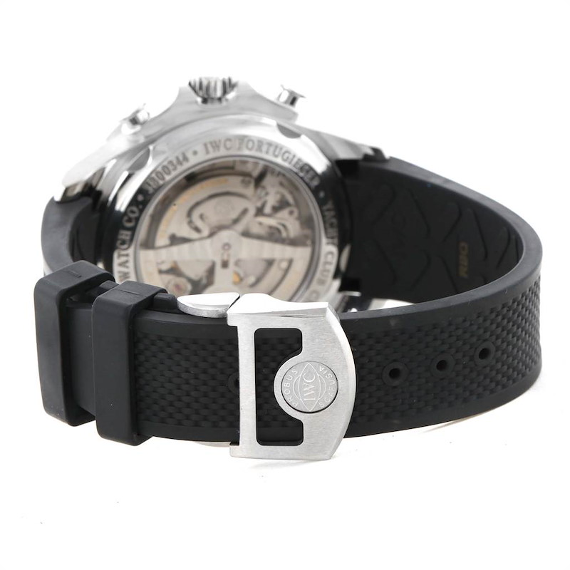 IWC Portuguese Yacht Club Chronograph Rubber Strap Steel Mens Watch IW390210 SwissWatchExpo
