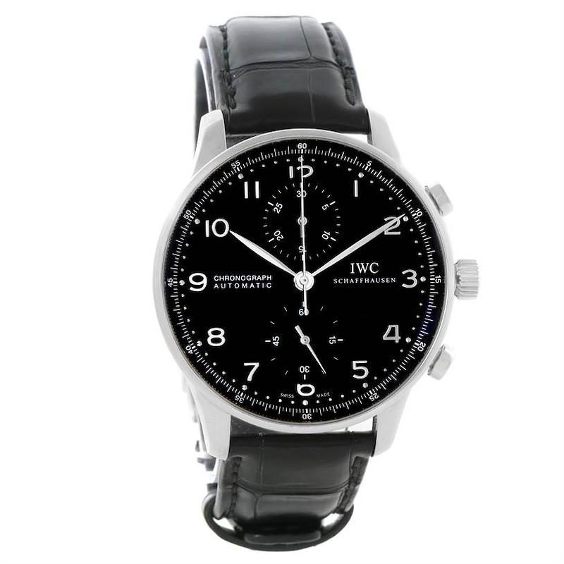 IWC Portuguese Chrono Automatic Black Dial Mens Watch IW371447 SwissWatchExpo