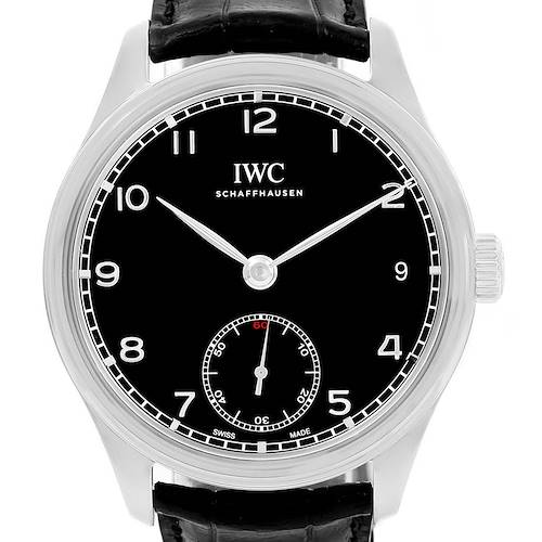 Photo of IWC Portuguese Hand Wound 8 Days Black Dial Mens Watch IW510202 Unworn