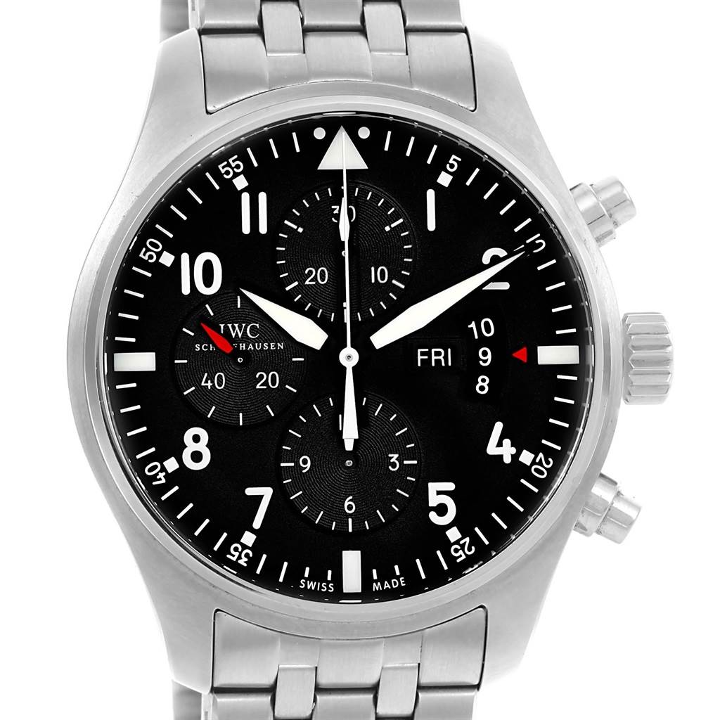 15250 IWC Pilot Black Dial Chronograph Mens Watch IW377704 Box Papers SwissWatchExpo