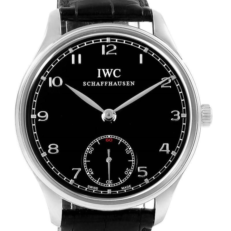 IWC Portuguese Black Dial Manual Wind Steel Mens Watch IW545407 SwissWatchExpo