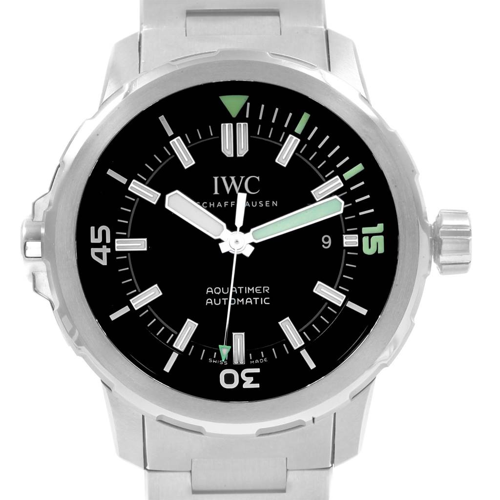 19939 IWC Aquatimer Black Dial Automatick Steel Mens Watch IW329002 Unworn SwissWatchExpo
