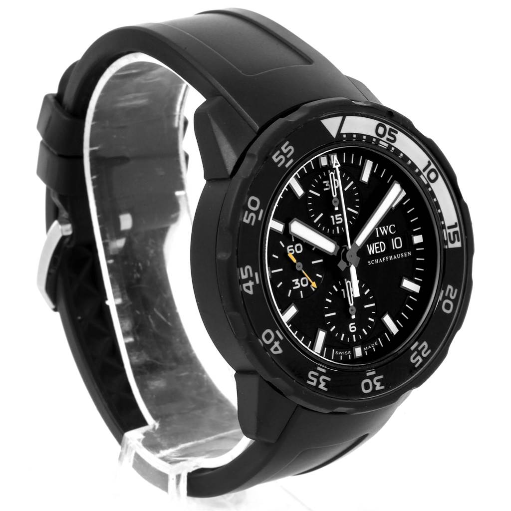 21304 IWC Aquatimer Chronograph Rubber Strap Mens Watch IWC376705 Box Card SwissWatchExpo