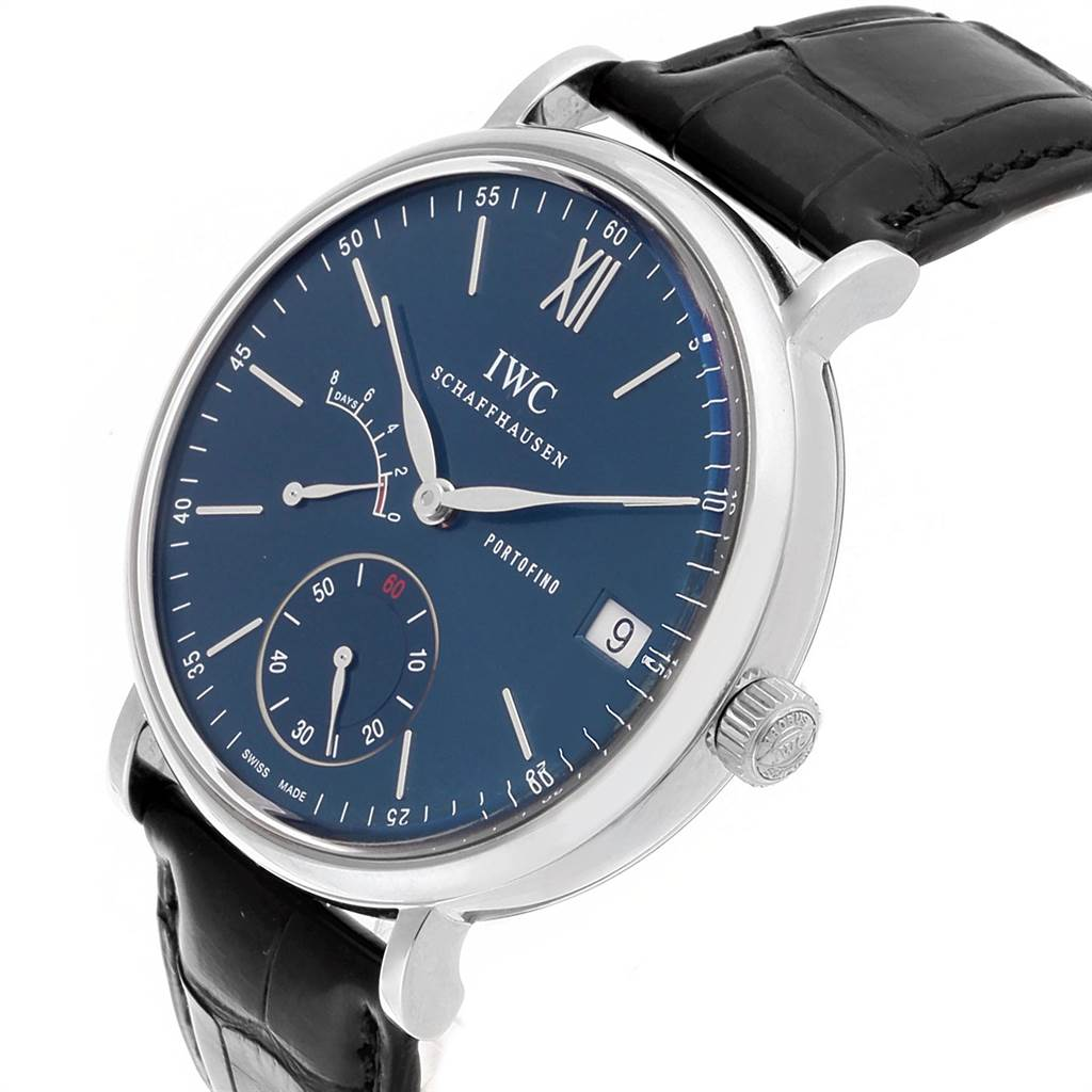 IWC Portofino 8 Days Power Reserve 45mm Steel Mens Watch IW510106 Card SwissWatchExpo