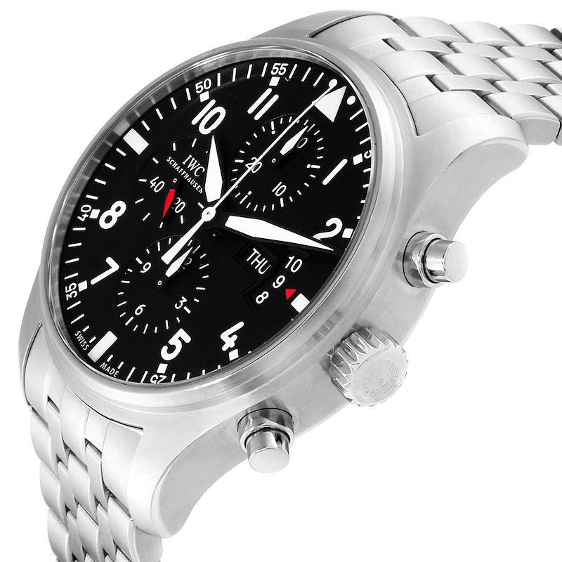 IWC Pilot Black Dial Chronograph Mens Watch IW377704 Papers SwissWatchExpo